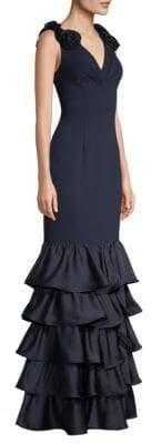 Aidan Mattox Sleeveless Ruffle Gown