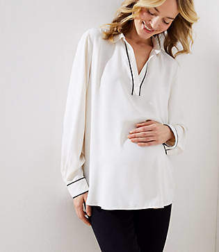 LOFT Maternity Piped Collar Split Neck Blouse