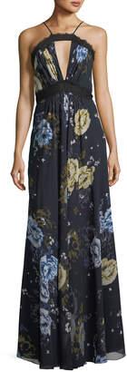 Jill Stuart Floral Lace Halter Sleeveless A-Line Dress