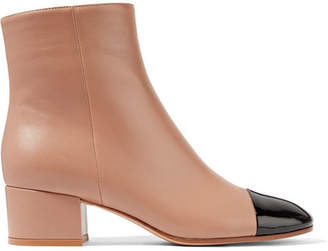 Patent And Matte-leather Ankle Boots - Sand