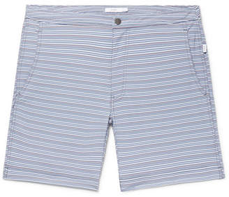 Onia Calder Long-Length Striped Stretch-Seersucker Swim Shorts