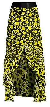 Alice + Olivia Women's Sueann Silk Ruffle Midi Skirt