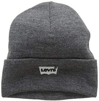 Levi s Men s Batwing Embroidered Slouchy Beanie (Noir Regular Grey 55) 48a8ae91d6d8