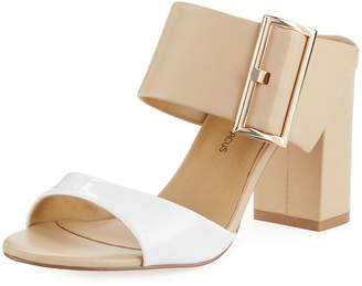 Neiman Marcus Brette Chunky-Heel Leather Slide Sandal, White