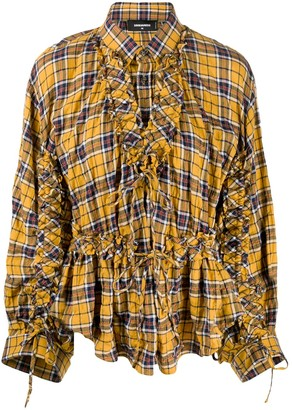 DSQUARED2 checked frilled shirt