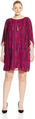 Amy Byer Women's Plus-Size Tulip Sleeve Scoop Neck Day and Night Dress