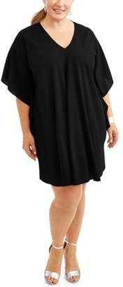 Lifestyle Attitude Women's Plus V Neck Flutter Sleeve Shift Dress