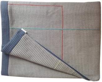 Waffle Design Colville Taupe Navy Hand Embroidered Reverse Throw