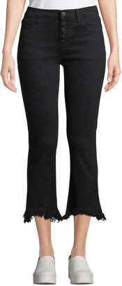 Moon River Mid-Rise Frayed Kick Flare Jeans