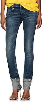 R 13 Women's Kate Low-Rise Cuffed Skinny Jeans - Blue