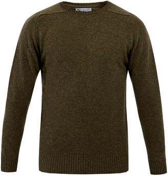 Johnstons of Elgin Moss Green Crew-Neck Cashmere Sweater