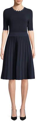 Lela Rose Half-Sleeve Scalloped Knit Dress