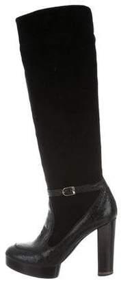 Stella McCartney Vegan Patent Leather-Trimmed Knee-High Boots