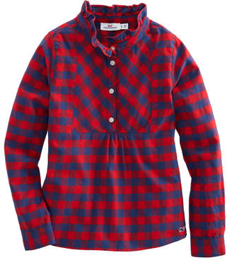 Vineyard Vines Girls Buffalo Check Flannel Popover