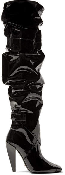 TOM FORD - Patent Leather Knee Boots - Black