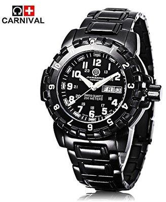 Carnival 腕時計 ミリタリー腕時計 多機能スポーツウォッチ スポーツ腕時計 メンズ クオーツウォッチ トリチウム発光 スイス製ムーブメント 200m防水 多用途