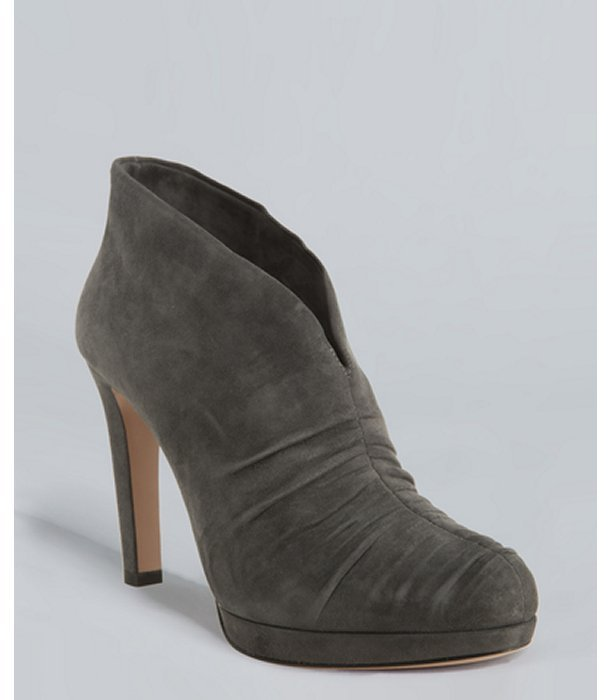 Prada anthracite suede ruched ankle booties