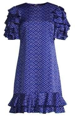 Kate Spade Tiered Ruffle Satin Shift Dress