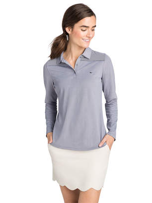 Vineyard Vines Long-Sleeve Shep Shoulder Stripe Pique Polo