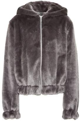 Helmut Lang Faux fur hooded jacket