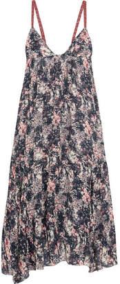 Etoile Isabel Marant Joany Asymmetric Printed Chiffon Midi Dress - Blue