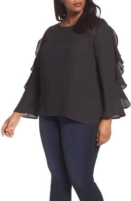 London Times Ruffle Bell Sleeve Blouse