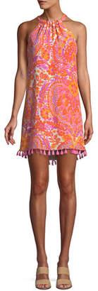 Trina Turk Rancho Halter Dress w/ Tassel Trim
