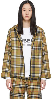 Burberry Beige Vintage Check Lightweight Hooded Jacket