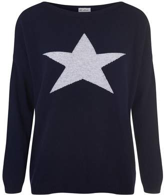 At Last... - Cashmere and Wool Star Jumper Navy With Grey Star