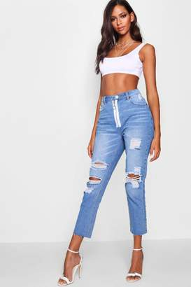 boohoo O-Ring Zip Front Distressed Boyfriend Jeans