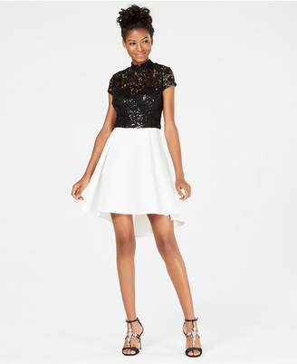 B. Darlin Juniors' Sequined-Lace Contrast Dress