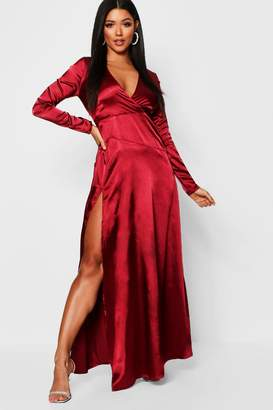 boohoo Satin Wrap Detail Long Sleeve Maxi Dress