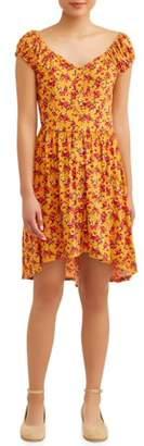 No Boundaries Juniors' Yummy Floral Sweetheart Neck Dress