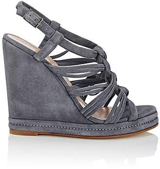 Barneys New York WOMEN'S KNOTTED-STRAP SUEDE PLATFORM-WEDGE SANDALS - MD. BLUE SIZE 8