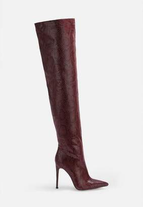 Missguided Burgundy Faux Snake Over The Knee Boots