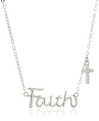 """Swarovski Sterling Silver """"Faith"""" Script and Cross Charm Necklace Made with Zirconia (1/8 cttw"""