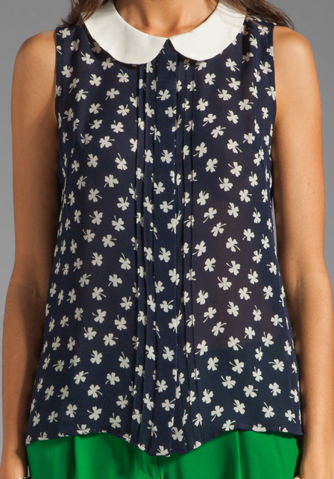 Milly Silk Clover Print Anat Sleeveless Blouse