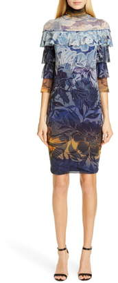 Fuzzi Degrade Floral Ruffle Sleeve Dress