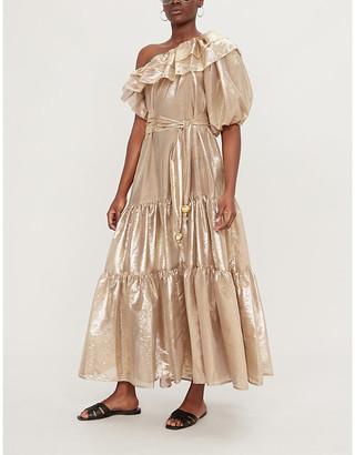 Lisa Marie Fernandez Arden ruffled metallic woven dress