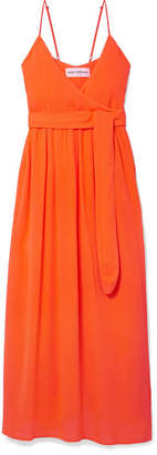 Mara Hoffman Alma Wrap-effect Crepon Midi Dress - Orange