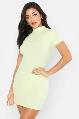 boohoo Washed Pastel Ribbed High Neck Mini Dress