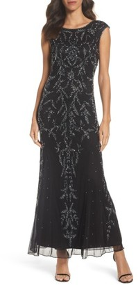 Women's Pisarro Nights Floral Motif Embellished Gown $198 thestylecure.com