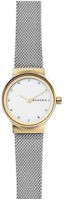 Skagen ladies watch stainless steel mesh bracelet, gold IP case, white dial with clear crystals accents