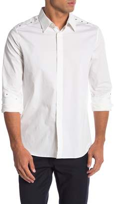 Karl Lagerfeld Studded Long Sleeve Modern Fit Shirt