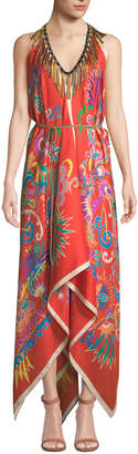Etro Printed Handkerchief Coverup Dress with Fringe