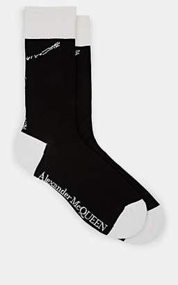 Alexander McQueen Men's Skeleton-Motif Cotton-Blend Socks - Black