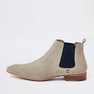 River Island Stone suede pointed toe Chelsea boots