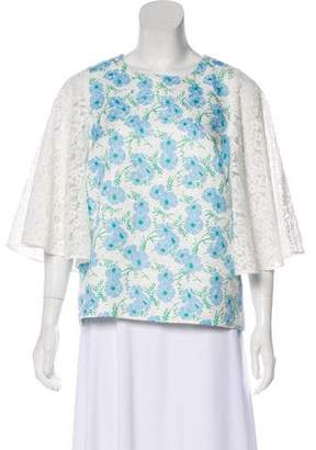 Draper James Lace-Accented Short Sleeve Top