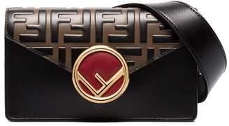 Fendi logo print and clasp leather belt bag