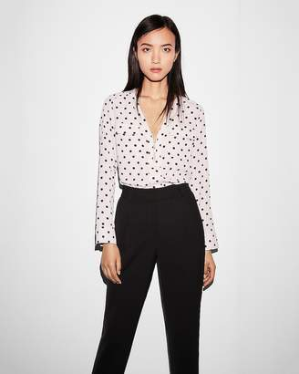 Express Polka Dot Long Sleeve Zip Front Blouse